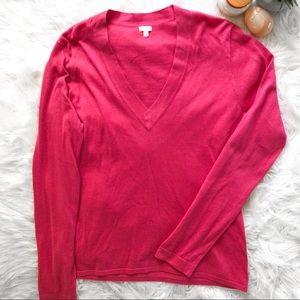 J. CREW V Neck Dark Pink Cotton Sweater